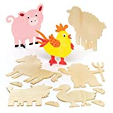 Stand-Up Wooden Farm Animals (Pack Of 10) For Kids To Make, Decorate & Display