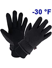 Winter Gloves Water Resistant Thermal Glove with Deerskin Suede Leather and Insulated Polar Fleece for Driving/Cycling/Running/Hiking/Snow Ski in Cold Weather - Warm Gifts for Men and Women