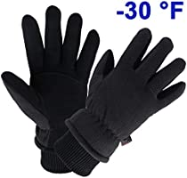 OZERO Winter Gloves Water Resistant Thermal Glove with Deerskin Suede Leather and Insulated Polar Fleece for...