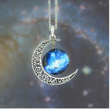 galaxy-necklace-silver-new-moon-pendant-with-blue-and-black-galactic-pendant-necklacewedding-neklace