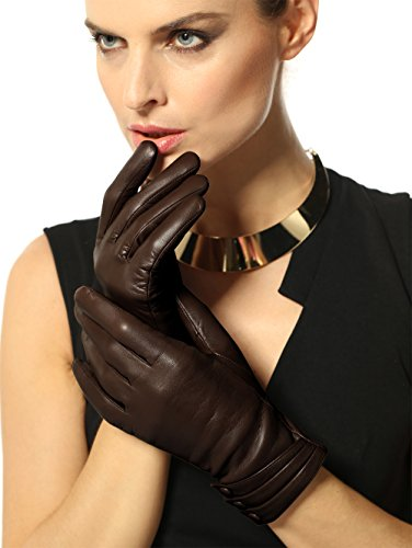 Warmen Women's Touchscreen Texting Driving Winter Warm Nappa Leather Gloves - 7 (US Standard size) - Dark Brown ( Fleece Lining ) (Ladies Brown Leather Gloves)