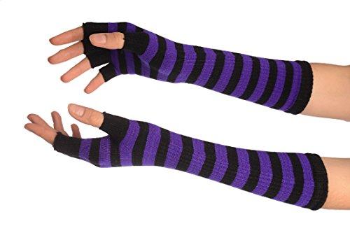 Purple & Black Stripes Fingerless Gloves - Gloves