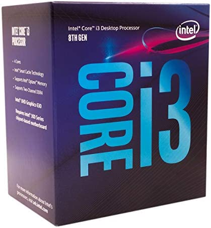 Intel Core i3-8100 Desktop Processor 4 Cores as much as 3.6 GHz Turbo Unlocked LGA1151 300 Series 95W