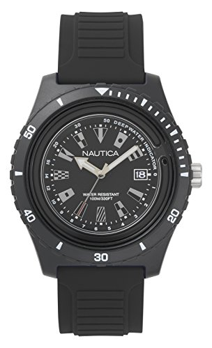 Nautica Men's 'IBIZA' Quartz Stainless Steel and Silicone Casual Watch, Color:Black (Model: NAPIBZ007) (Watches Black Men Nautica)