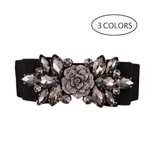Dorchid Women Retro Belts Rhinestone Cummerbunds Floral Crystal Interlocking Waistband Stretch belt for Female Black L