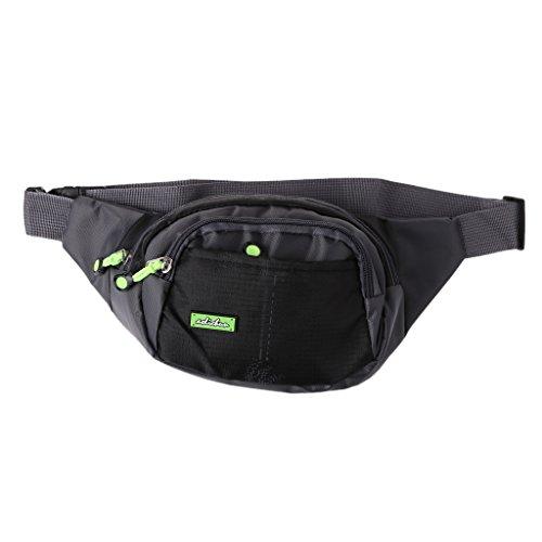 Mimgo Unisex Travel Hip Purse Sports Bag Utility Cycling Zipper Waist Fanny Pack Belt Bag (Black)