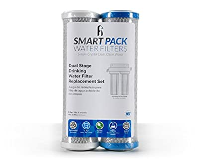 Dual Stage Drinking Water Filter Set for GXSV10R Universal Fit filters Sediment, VOC, Mercury, Lead, Cysts