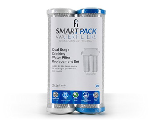 Dual Stage Drinking Water Replacement Filter Set, Universal Fit, Filters Sediment, VOC, Mercury, Lead, Cysts