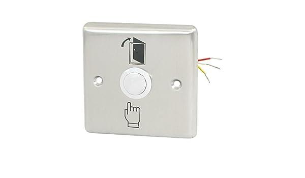 Amazon.com: eDealMax Puerta de Salida eléctrica Acero inoxidable de liberación del botón del interruptor del empuje de ABK-801B: Electronics