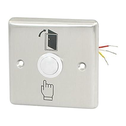eDealMax Puerta de Salida eléctrica Acero inoxidable de liberación del botón del interruptor del empuje de