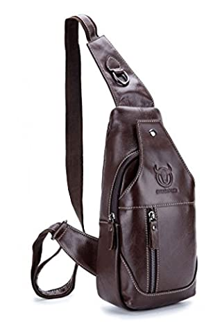 WeeDee Men's Genuine Leather Sling Bags Chest Shoulder Messenger Bag Business Casual Crossbody Bag (Brown Brown)