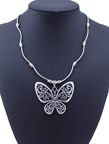 Bohemian Vintage Ethnic Tibetan Silver Jewelry Carved Hollow Butterfly Pendants Necklaces Sweater Chain For Women Jewelry