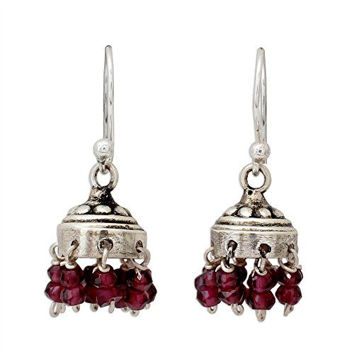 NOVICA Garnet .925 Sterling Silver Chandelier Jhumki Style Dangle Hook Earrings 'Traditional Grace' Artisan Traditional Chandelier