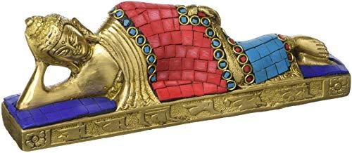 (AONE India Reclining Buddha Statue Brass Sculpture Sleeping/Resting Buddha Figurine + Cash Envelope (Pack of 10))