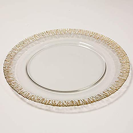 Glass Charger Plate Glitter Rimmed Edge 3 Colors Christmas Tableware Weddings Events Silver