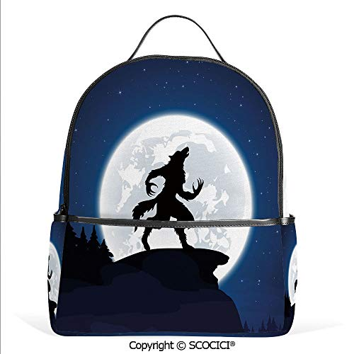 Casual Fashion Backpack Full Moon Night Sky Growling Werewolf Mythical Creature in Woods Halloween,Dark Blue Black White,Mini Daypack for Women & Girls]()