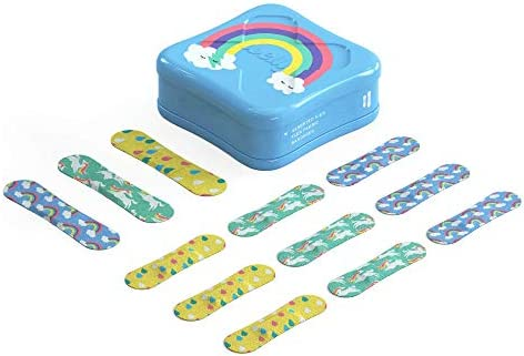 41 DFBbXMjL. AC - Welly Bandages - Bravery Badges, Flexible Fabric, Adhesive, Assorted Shapes, Rainbow And Unicorn Patterns - 48 Ct