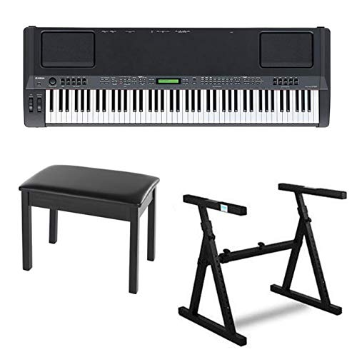 Yamaha CP300 88-Key Graded-Hammer Stage Piano Bundle with Heavy Duty Z-Style Piano Stand and Black Padded Piano Bench