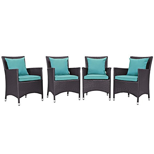 Modway Convene Wicker Rattan Outdoor Patio Dining Armchairs With Cushions  In Espresso Turquoise   Set Of 4