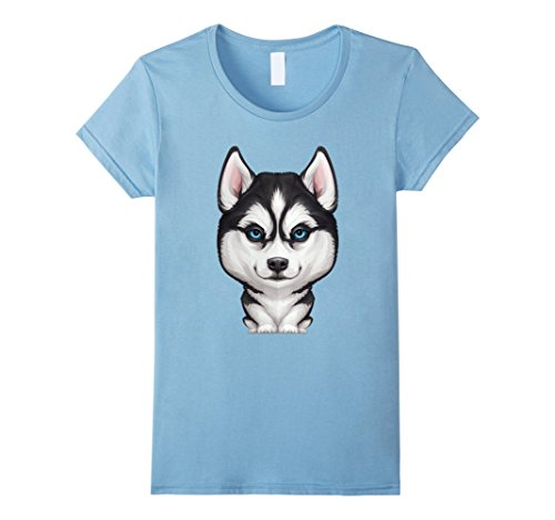 Women's Siberian Husky T-shirt Medium Baby Blue