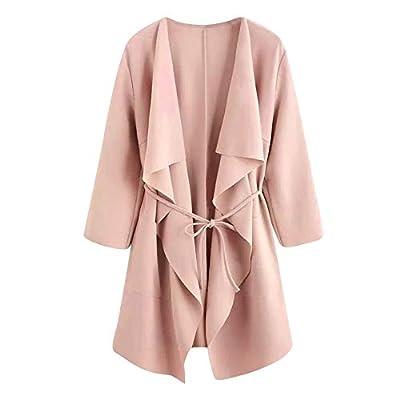 Shusuen Women's Raw Cut Hem Waterfall Collar Long Sleeve Wrap Trench Pea Coat Cardigan