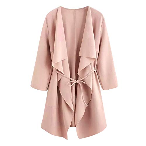 Women Casual Jackets,Women's Turn Down Shawl Collar Asymmetric Hemline Coat Outwear ANJUNIE(Pink,M) ()