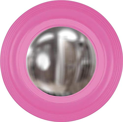 Wall Mirror Howard Elliott SOHO Round Frame Grooved Edges Hot Pink New H