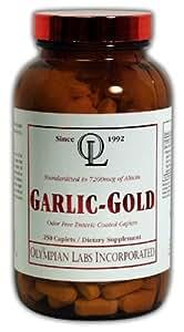 Olympian Labs Garlic-gold, 600mg, 7200mcg Allicin, 250 Caplets