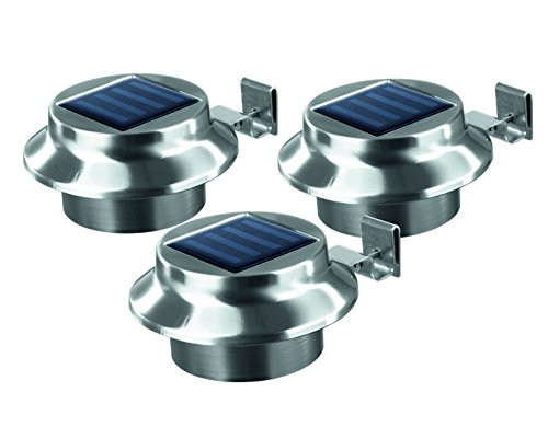 Solar Gutter-Lights | Outdoor Lighting, Set of 3 | Stainless Steel | Weather resistant, Easy to install, Wireless, bright by Lemon-trade