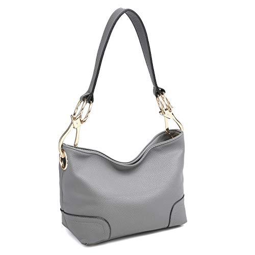 Dasein Women's Classic Faux Leather Hobo Purse Shoulder Bag Tote Handbag (7967 Smaller Style- Grey)