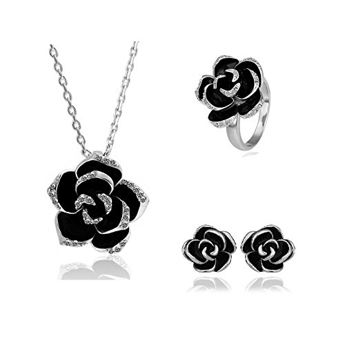 Black And White Costume Jewellery (Dazzle Flash Black Flower Pendant Necklace, white gold Plated Costume Fashion Jewelry Sets for Women (White))