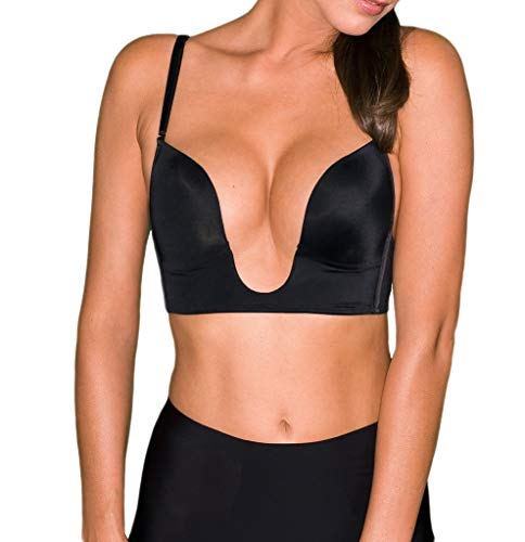 Fullness Womens V Bra Max Cleavage Booster Shaper Black 34B