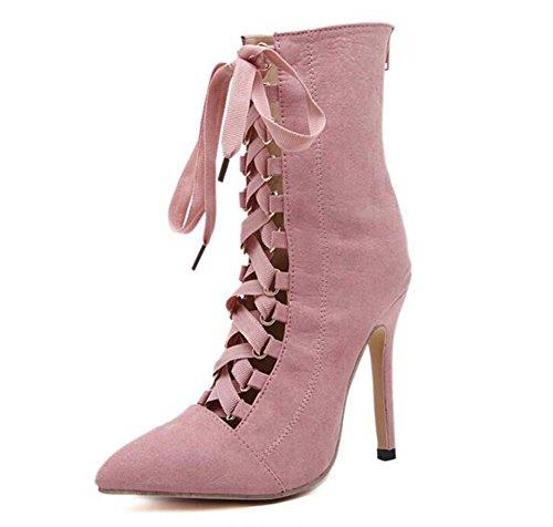 Boots Pump Eu Stiletto Shoes Cross Ankel Court Strap Cool 40 Sexy Dress Shoes Shoeslace Size 34 Hollow 12cm OL Boots Toe Pink Zipper Boots Onfly Color Point Pure Party Women wq4AqPSt