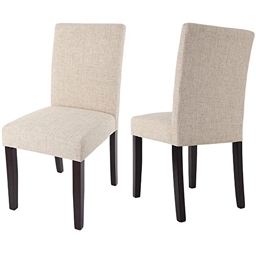 Merax Classic Fabric Dining Chairs with Solid Wood Legs Set of 2 (Classic Chair Set)