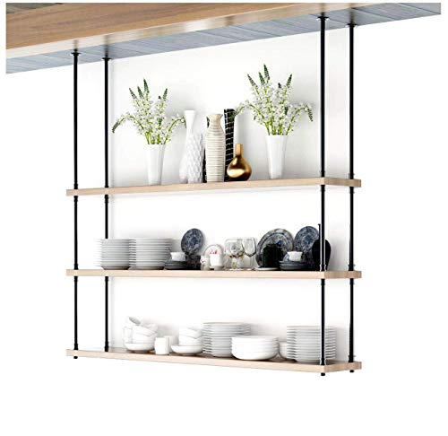 - DIYHD 68inch Ceiling Mount Industrial Black Iron Pipe 3 Layer Kitchen Storage Shelf Bracket(No Planks), Design A A,