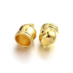 Pack 30 x Gold Plated Brass 6 x 9mm Kumihimo Bell-Shape End Caps - (HA12150) - Charming Beads
