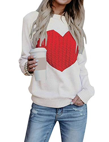 shermie Women's Pullover Sweaters Long Sleeve Crewneck Cute Heart Knitted Sweaters White L