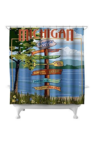 (Lantern Press Traverse City, Michigan - Destinations Sign 43308 (74x74 Polyester Shower Curtain))
