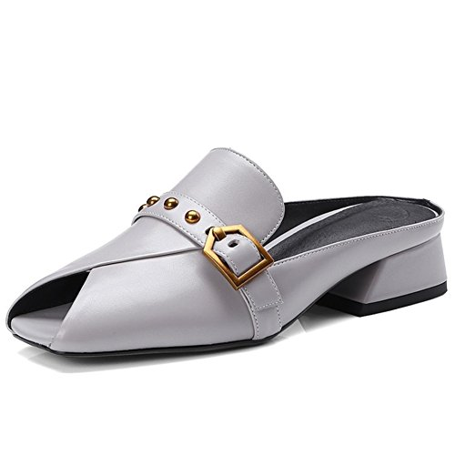 Zapatos de Mujer New Summer Square Head Sandalias de Punta Abierta Slipper Europe America Hebilla de Cinturón de Metal Rough Heel PU Lazy Shoes Ladies Segundo