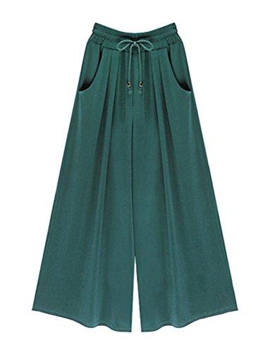 Donna Estivi Casual Taglie Forti Vita Alta Pantaloni Gamba Larga Sottile Verde scuro /Lunghezza della caviglia