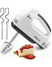 Handmixer för kakor, matvisp med Turbo Boost/självkontroll 7-växlad visp 4 rostfritt ståltillbehör, kakmixer för kök/kakkräm bakning (vit)