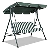 Goplus Swing Canopy Replacement Waterproof Top Cover for Outdoor Garden Patio Porch Yard (66'' x 45'', Green)