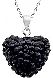 Sterling Silver Black Crystal Heart Shape Pendant Necklace,18