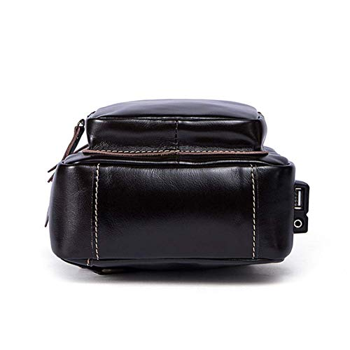 met schoudertas schoudertas draagdoektas Ankamal mannen Messenger rugzak oplaadbare voor USB Bag roodbruin en borsttas Elec 1wx57pY