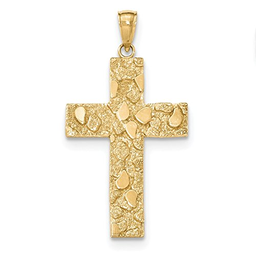 Lex & Lu 14k Yellow Gold Polished and Textured Nugget Block Style Cross Pendant -