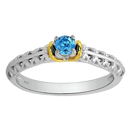 Sterling Silver with Yellow Plate 1/5cttw Round Blue Diamond Promise Ring by Genuine Diamonds by Diamante