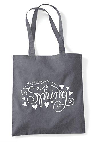 Statement Spring Shopper Grey Bag Tote Dark Welcome qSgCRp