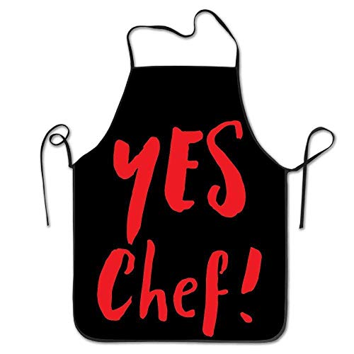 AfagaS Yes Chef Red Black Design Chef Apron Women Men Barber Cooking Crafting - Jr Chef Apron