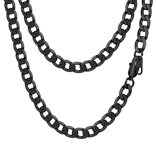 PROSTEEL Curb Cuban Link Chain Black Necklace Goth Gothic Punk Women Chain Men Jewelry Gift Layered Layering Necklace