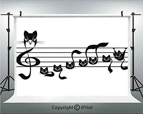 Music Decor Photography Backdrops Notes Kittens Kitty Cat Artwork Notation Tune Children Halloween Stylized,Birthday Party Background Customized Microfiber Photo Studio Props,5x3ft, -
